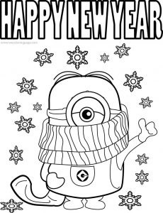Best funny minions quotes and picture cold weather happy new year coloring page