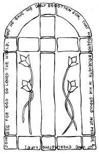 Bible cross coloring page