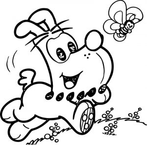 Bidu dog running and bee coloring page