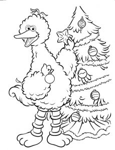 Big bird christmas sesame street coloring pages