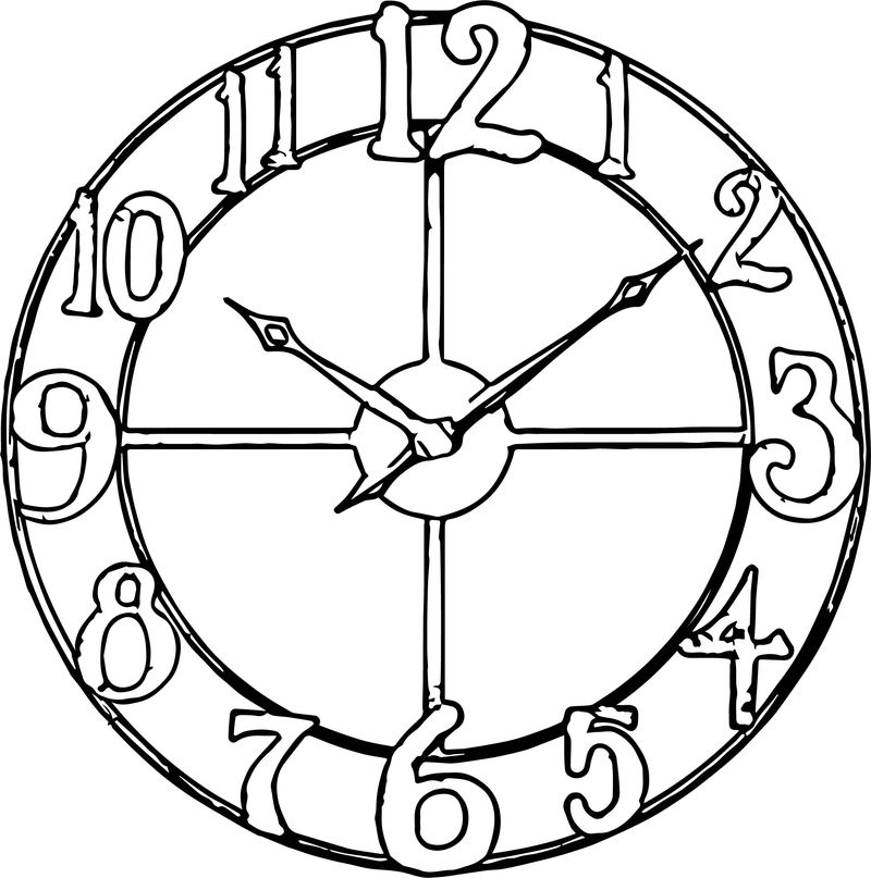 Big Number Old Clock Coloring Page