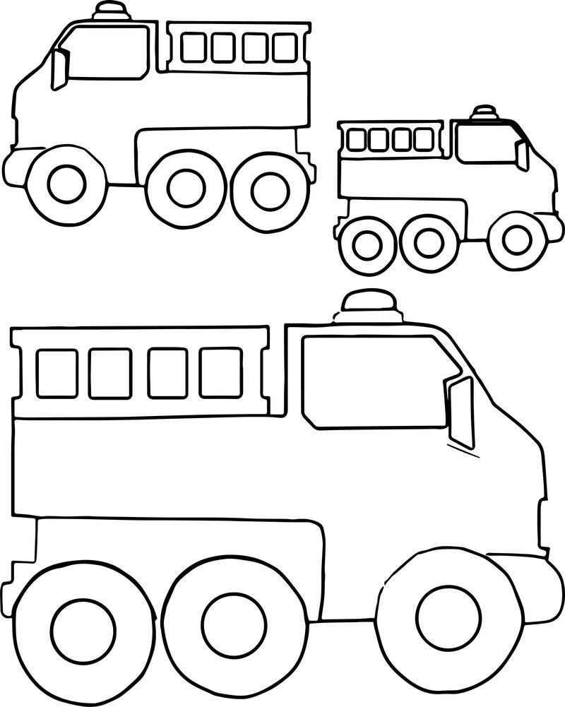 Bigger And Smaller Fire Truck Coloring Page