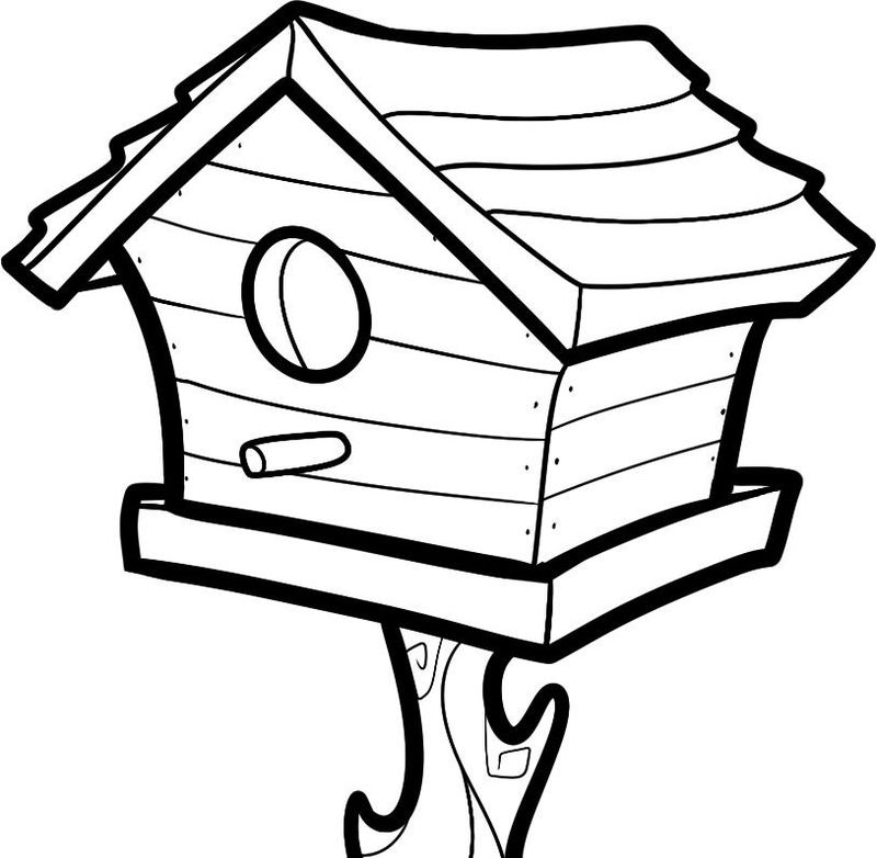 Bird House Coloring Pages 001
