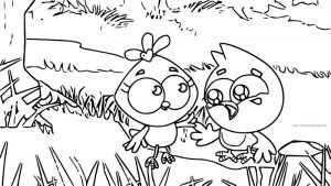 Birds family mom monster cartoon forest coloring page