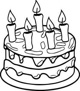 Birthday cake candle coloring page