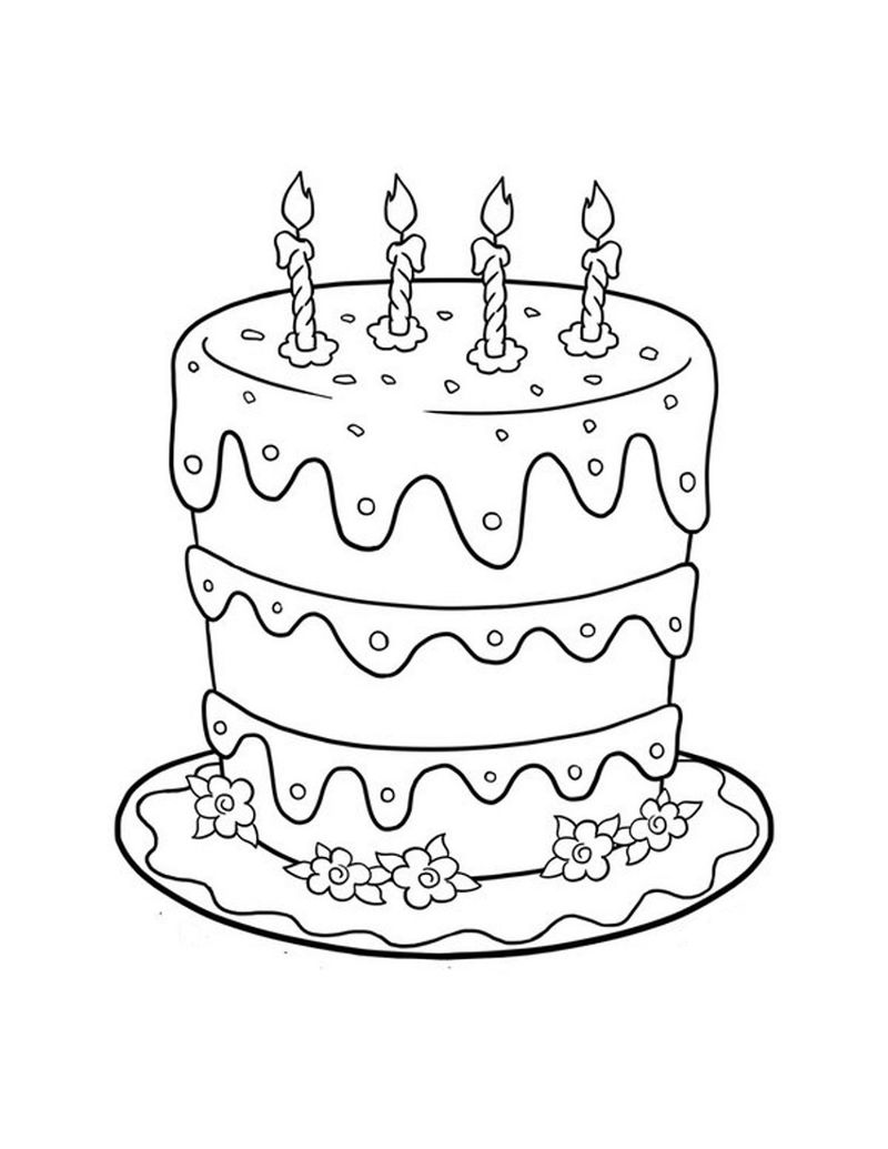 Birthday Cake Color Page For Kids