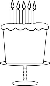 Birthday cake pink polka coloring page