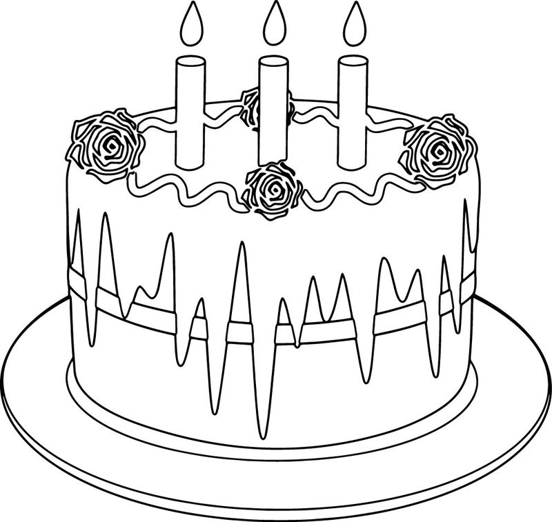 Birthday Cake Rose Coloring Page