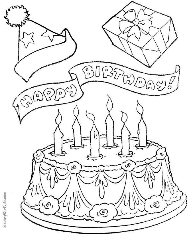 Birthday Cakes Coloring Pages 001