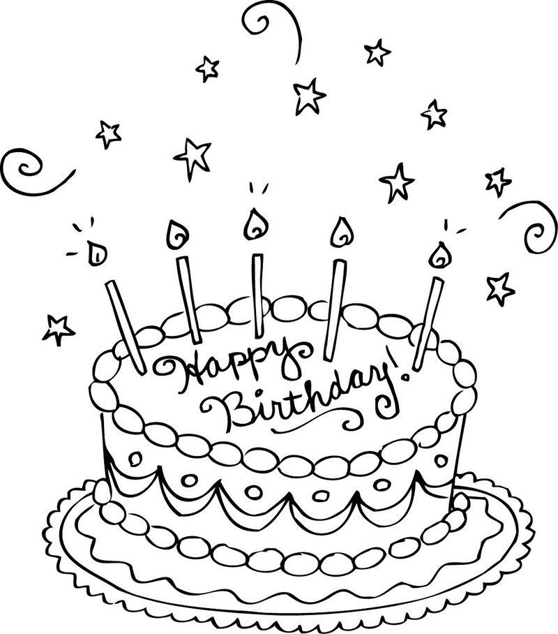 Birthday Coloring Pages For Kids Cake