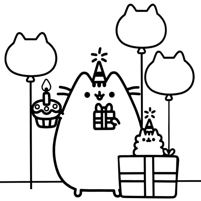 Birthday Kawaii Coloring Pages