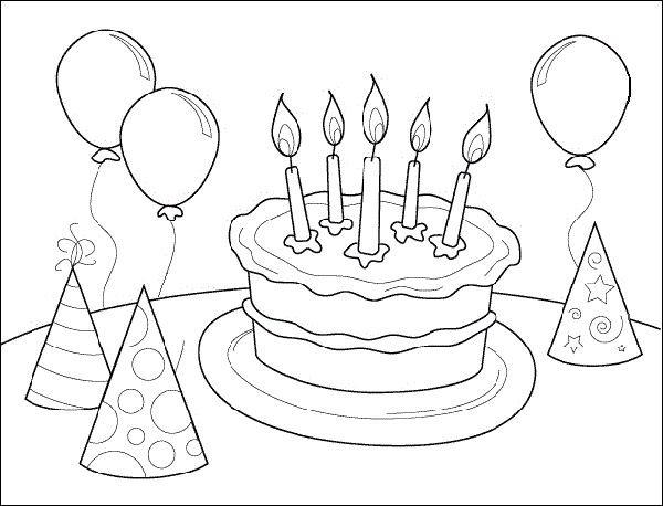Birthday Party Cake Coloring Page
