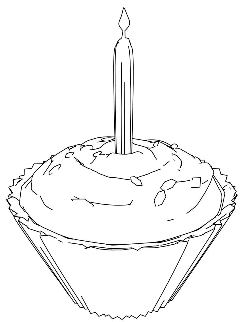 Birthday Party Cupcake Coloring Page