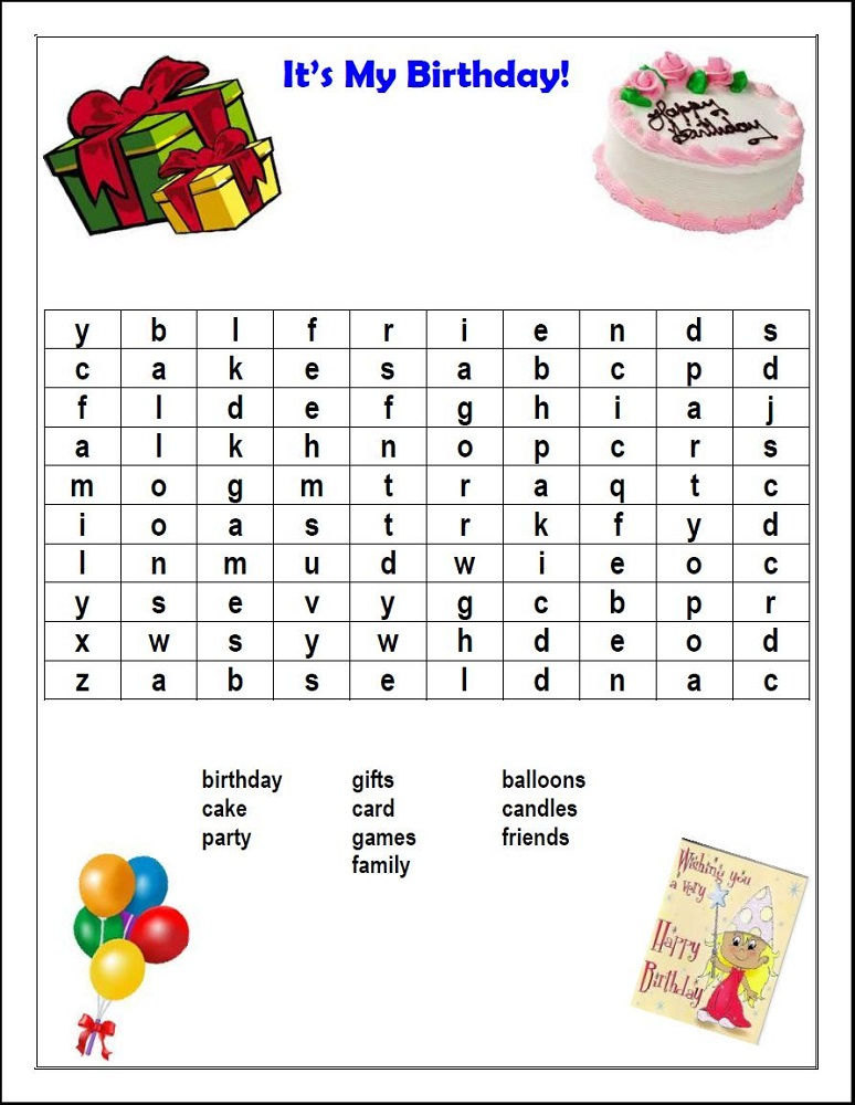 Birthday Word Search Party