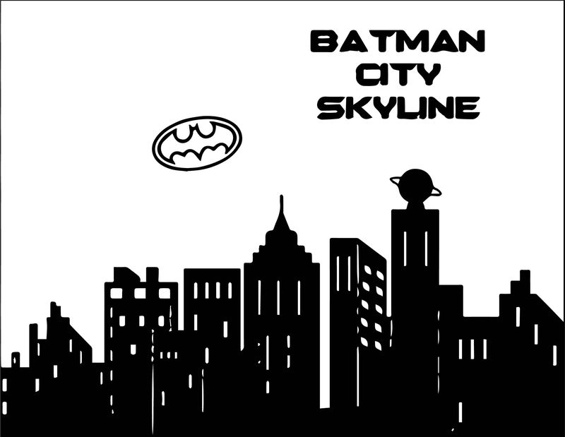 Black Batman Cityscape Coloring Page