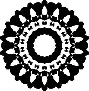 Black easy mandala coloring page