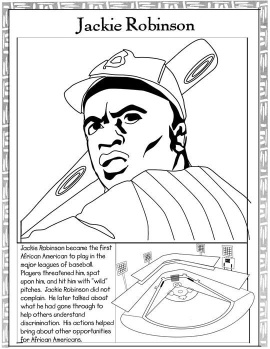 Black History Month Coloring Pages Jackie Robinson