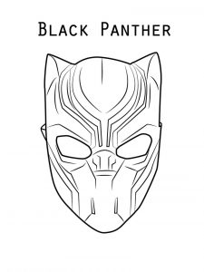 Black panther mask coloring page