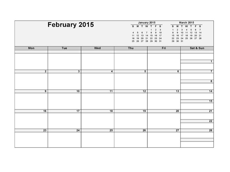 Blank Calendar Pages 2015 February 001