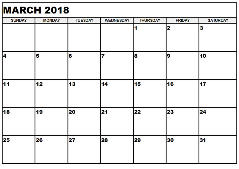 Blank Calendar Pages 2018 March