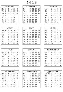 Blank calendar pages 2018 to print