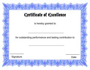 Blank certificate templates blue