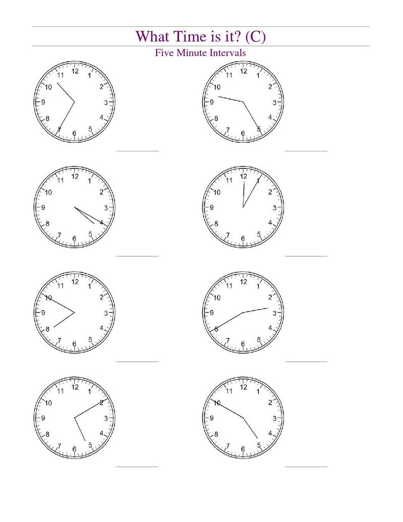 Blank Clock Worksheet Free