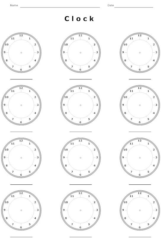 image regarding Blank Clock Printable called Blank Clock Worksheet Printable - Coloring Sheets