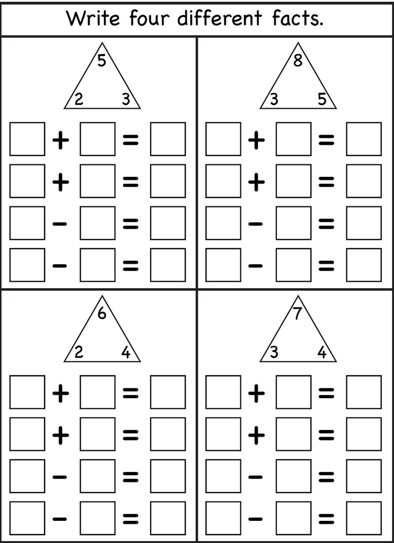 Blank Fact Family Worksheets Printable 001