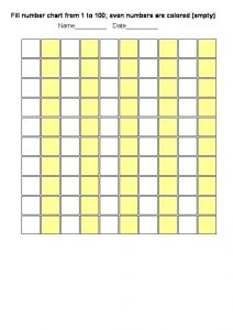 Blank number chart 1 100 colored