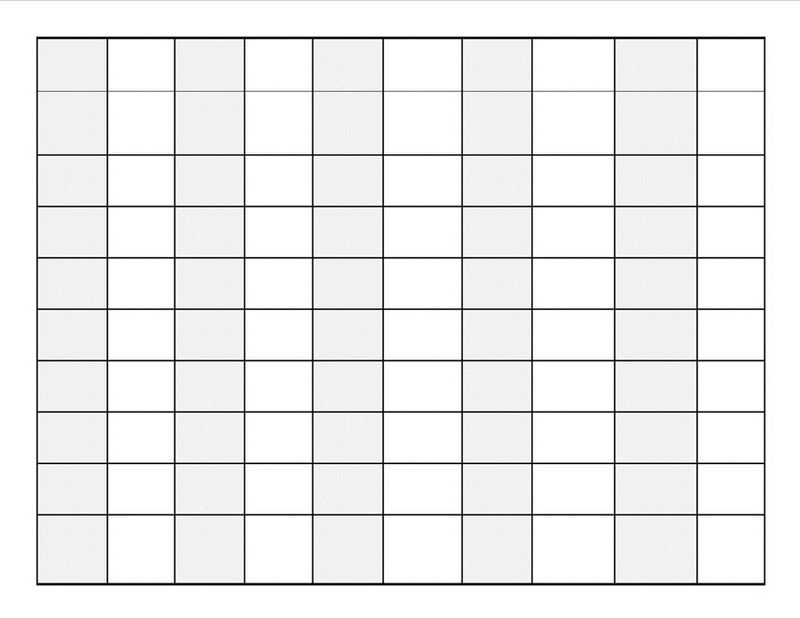 Blank Number Chart 1 100 Page