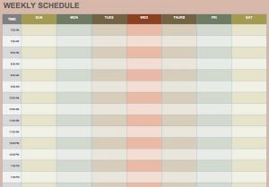Blank weekly schedule template 001