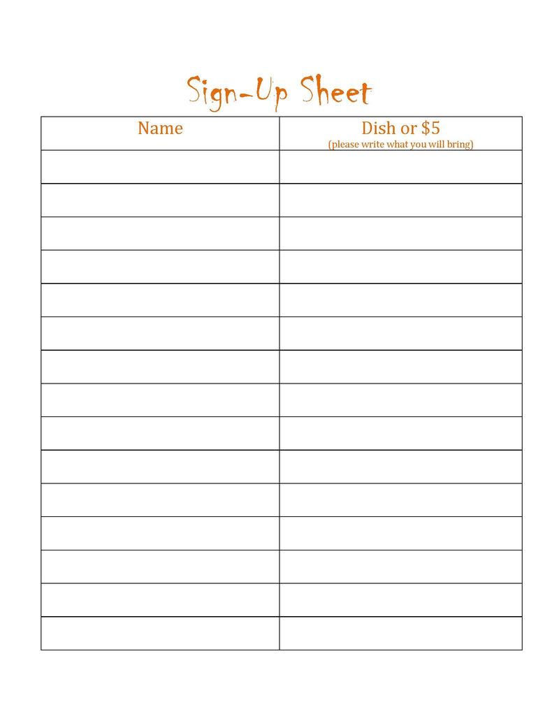 Blanks Potluck Signs Up Sheets Template 001