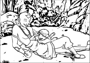 Blind training aang and oc waterwriter avatar aang coloring page