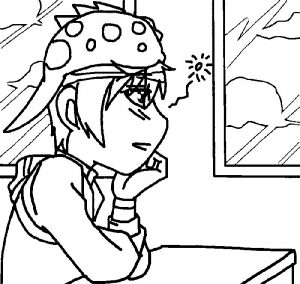 Boboiboy waiting in the school coloring page