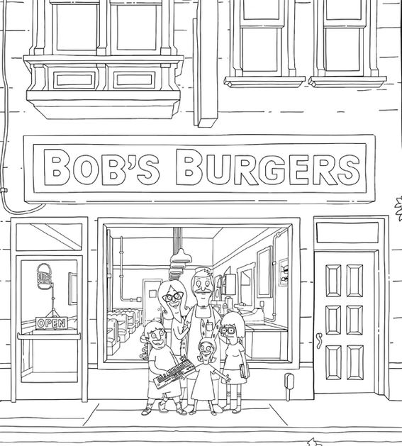 Bobs Burgers In Humberger Restaurant Coloring Page