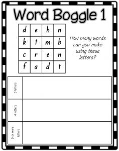 Boggle word games for kids