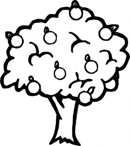 Bold apple tree coloring page