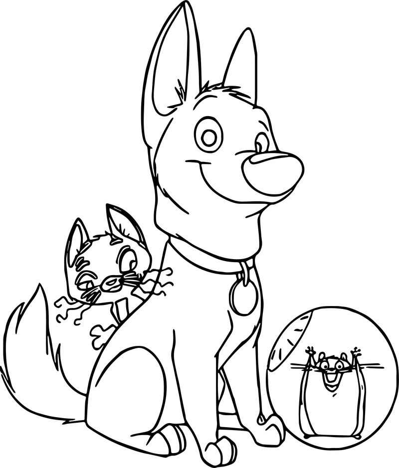 Bolt Dog Cute Friends Coloring Pages