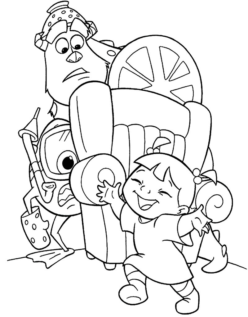 Boo Sully And Mike Monster Inc Coloring Picture Printable