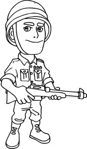 Boom coloring on the beach soldier character coloring page
