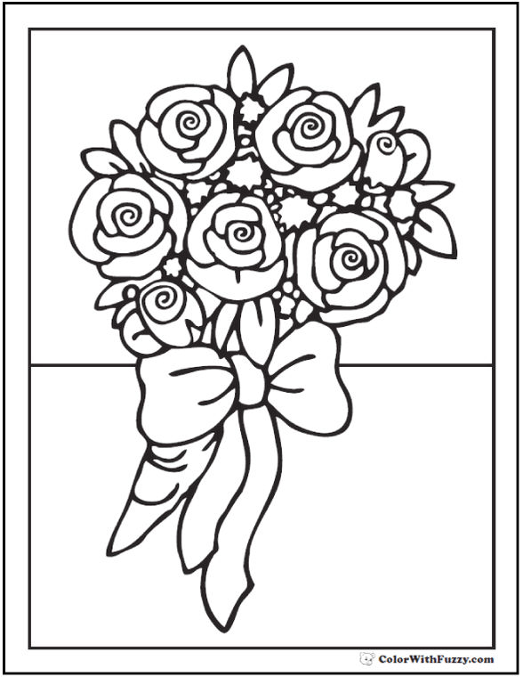 Bouquet Of Roses For Wedding Coloring Page Printable