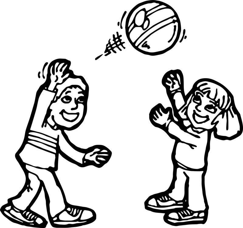 Boy And Girl Ball Activity Coloring Page