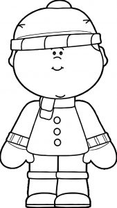 Boy dressed in winter clothing coloring page