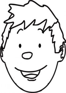 Boy face outline coloring page