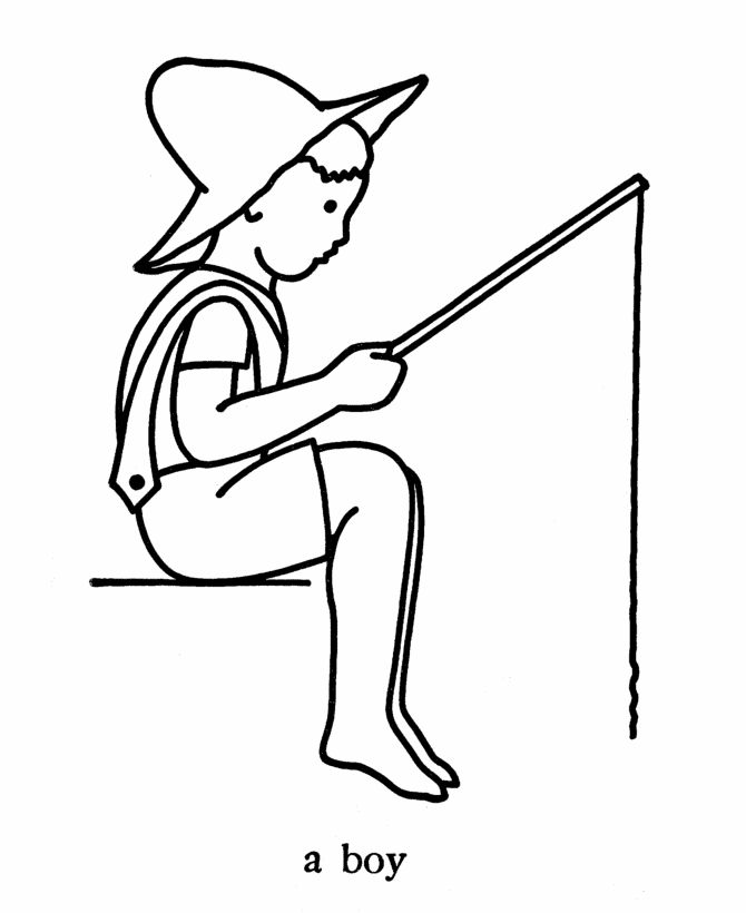 Boy Fishing Coloring Pages 001