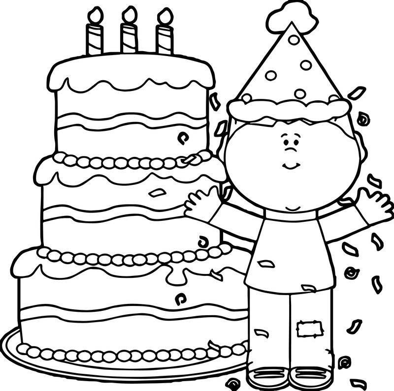 Boy Happy Birthday Coloring Page