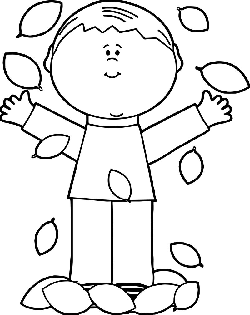 Boy Leaf Coloring Page