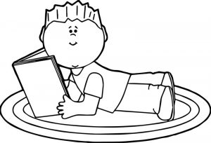 Boy reading book coloring pages