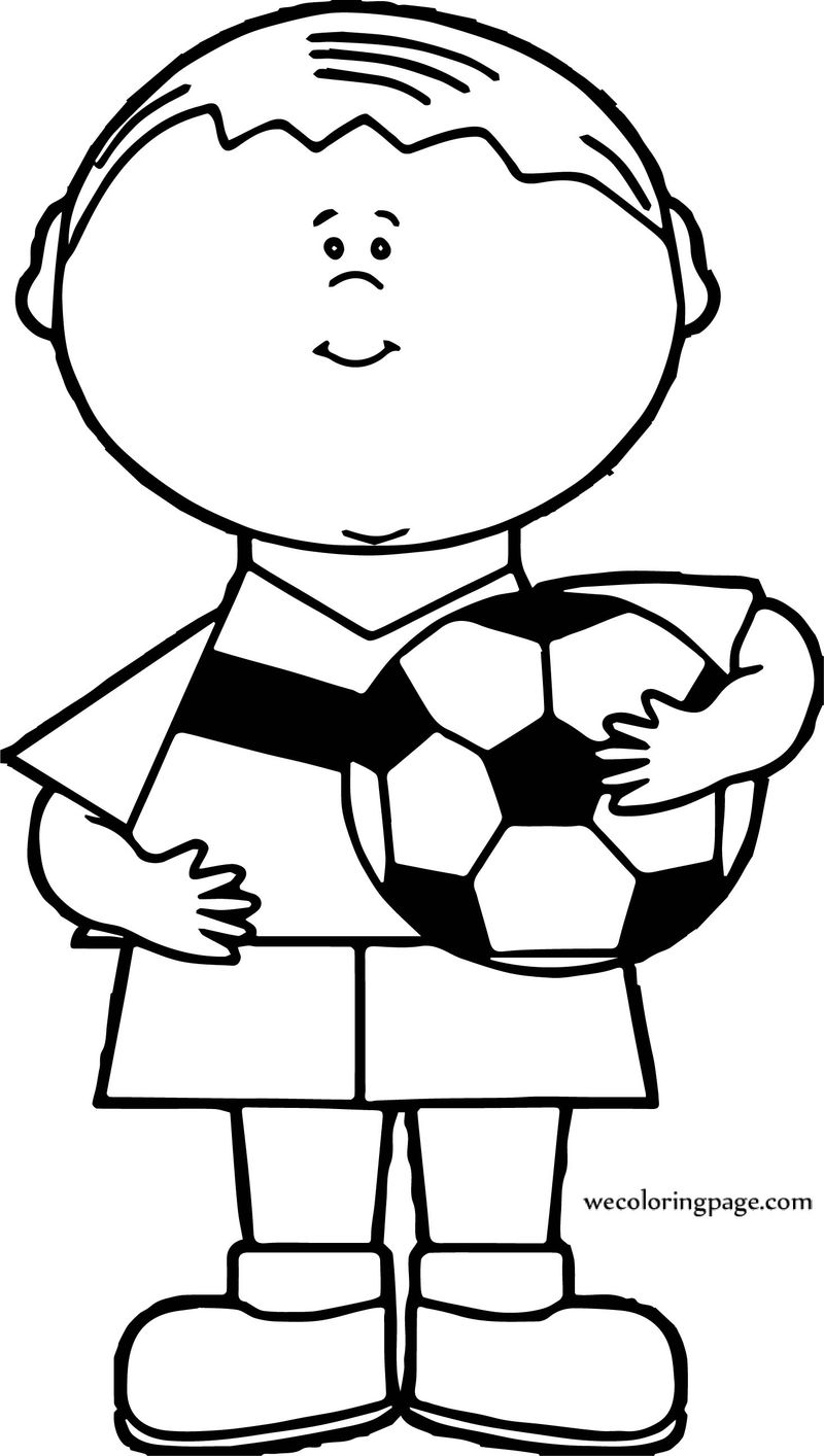 Boy Soccer Ball Holding Coloring Page
